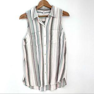 Sonoma Neutral Striped Buttondown Sleeveless Top M
